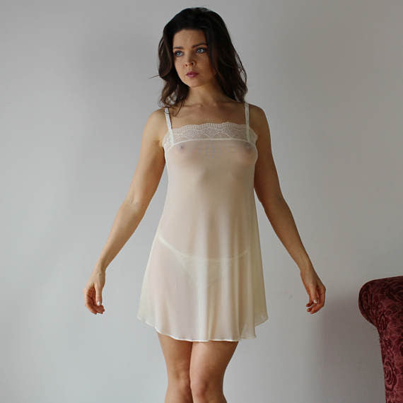 Sheer Babydoll Nightgown With Lace Trim