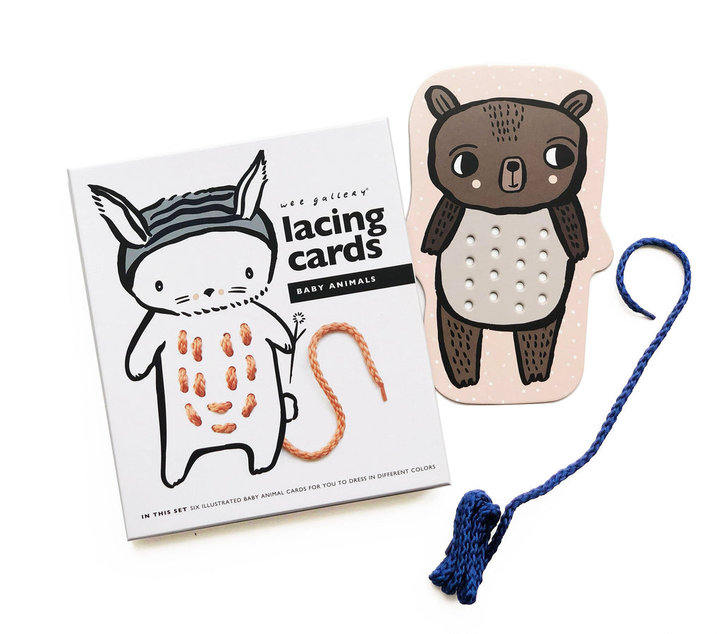 Wee Gallery Lacing Cards Baby Animals