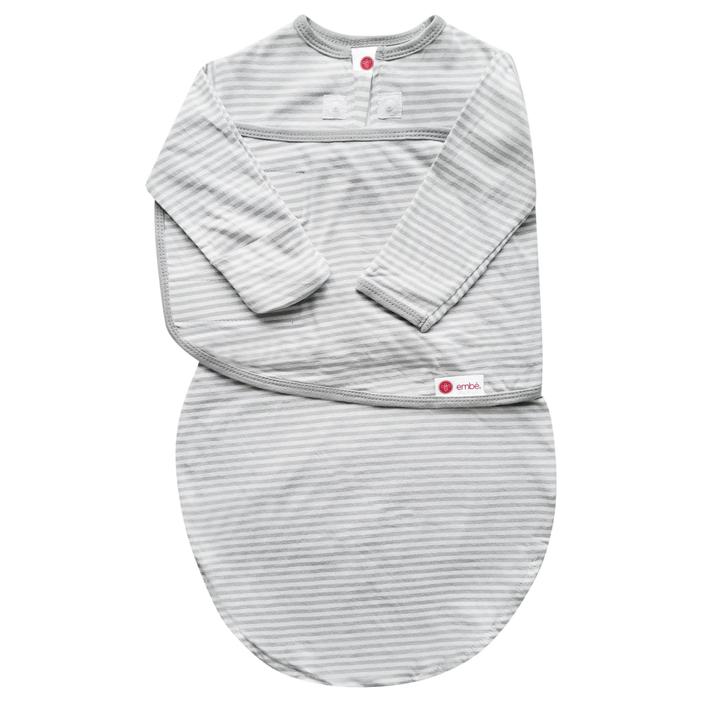 embe - Gray Stripe | Starter Swaddle with Long Sleeves