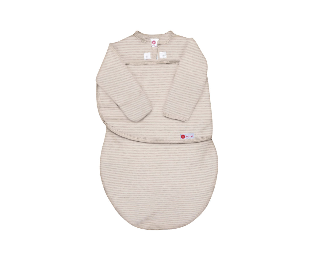 embe - Oatmeal Stripe | ORGANIC Starter Swaddle with Long Sleeves