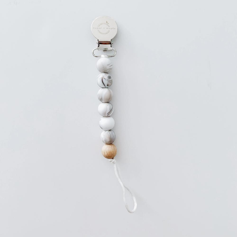 Pacifier + Teether Clip- Silicone with 1 Beechwood Bead- Marble
