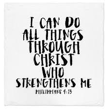 Modern Burlap Organic Muslin Swaddle - I can do all things through Christ who strengthens me