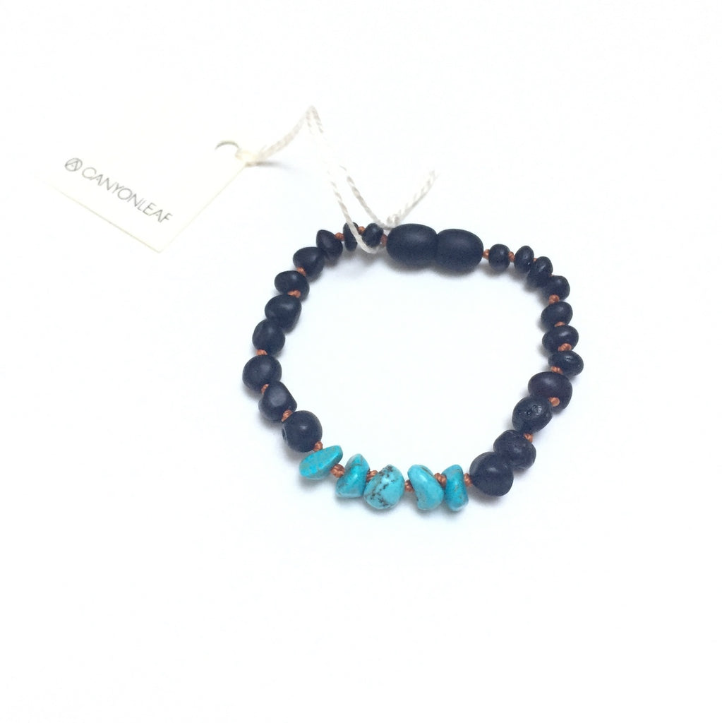 CanyonLeaf Kids: Raw Black Amber + Turquoise Necklaces 12""