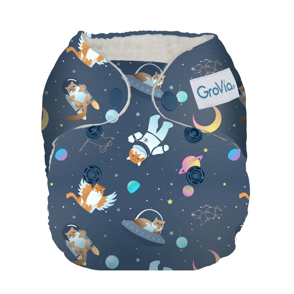 GroVia Newborn All-in-One | All Good Cats Go To Space