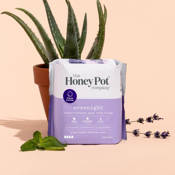 The Honey Pot Overnight Feminine Pads with Wings
