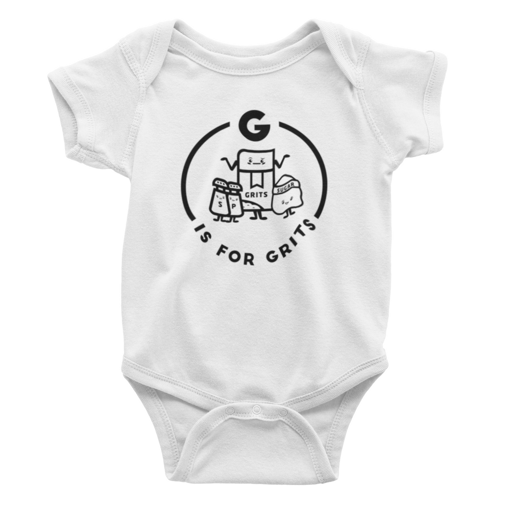 Southern Alphabet Series Onesies G is for Grits