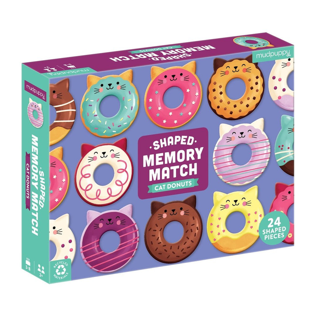 Mudpuppy Cat Donuts Shaped Memory Match