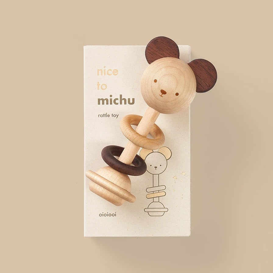 Oioiooi Nice to Michu Wooden Rattle
