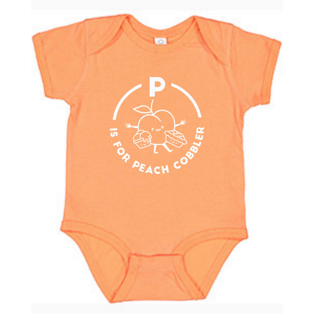 Southern Alphabet Series Onesies P is for Peach Cobbler
