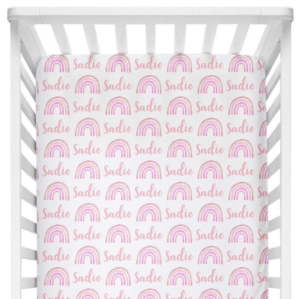 Sugar + Maple Crib Sheet - Rainbow Pink