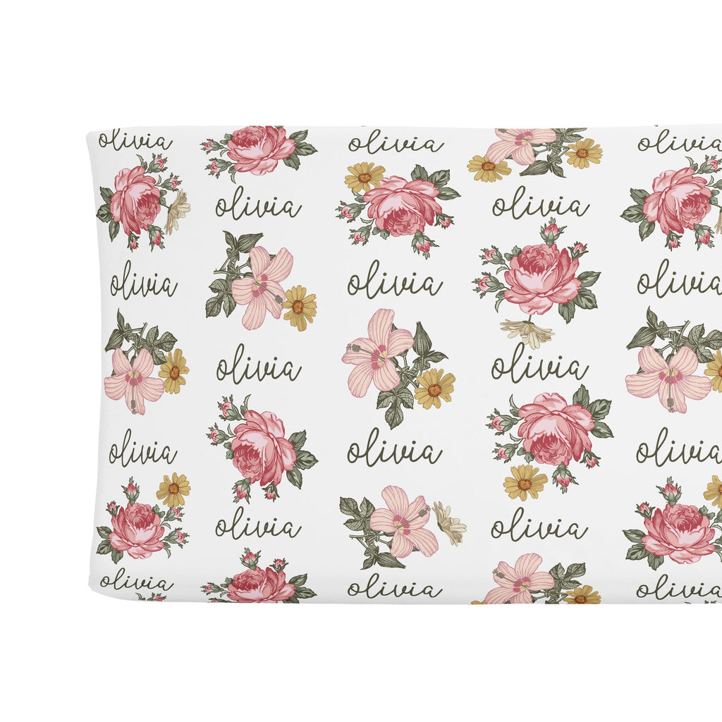 Sugar + Maple Changing Pad Cover - Retro Rose