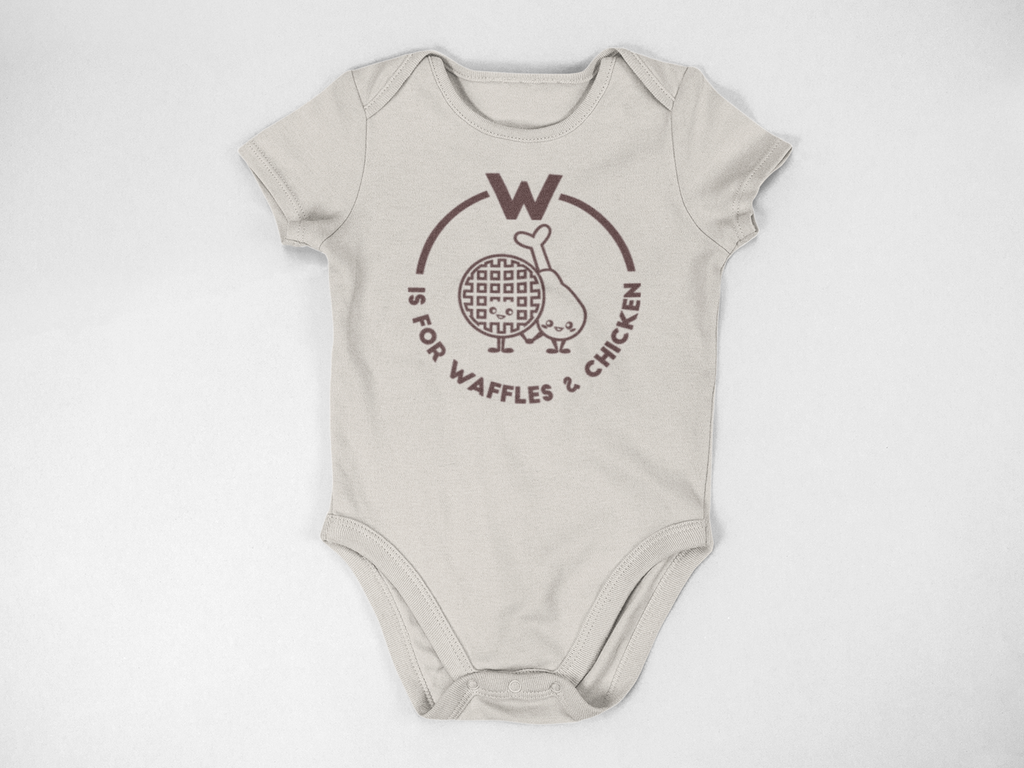 Southern Alphabet Series Onesies W if for Waffles and Chicken
