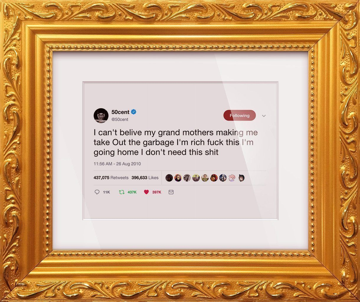 "50 Cent - ""I'm Rich Fuck This""-Framed Tweets"