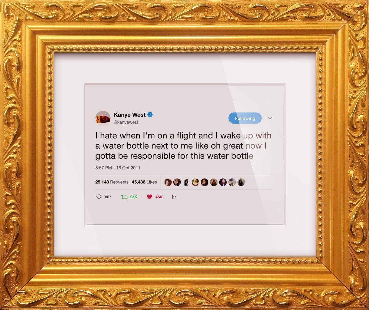 "Kanye West - ""Water Bottle""-Framed Tweets"