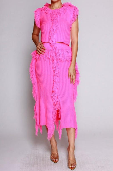 Fringe skirt set