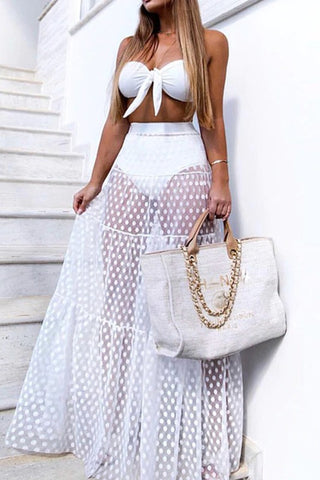 High waist mesh cover up