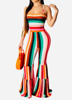 Load image into Gallery viewer, Spaghetti strap striped wide leg jumpsuit