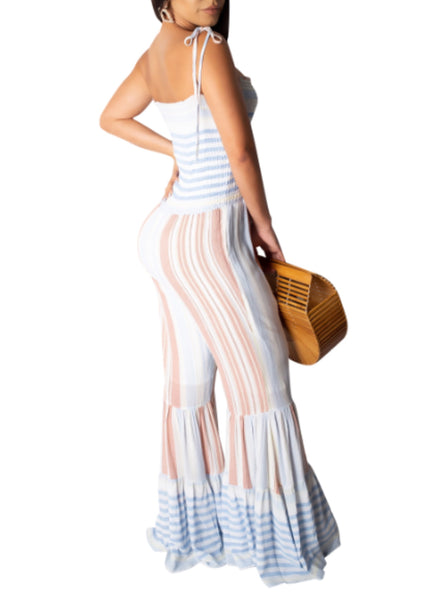 Spaghetti strap striped wide leg jumpsuit