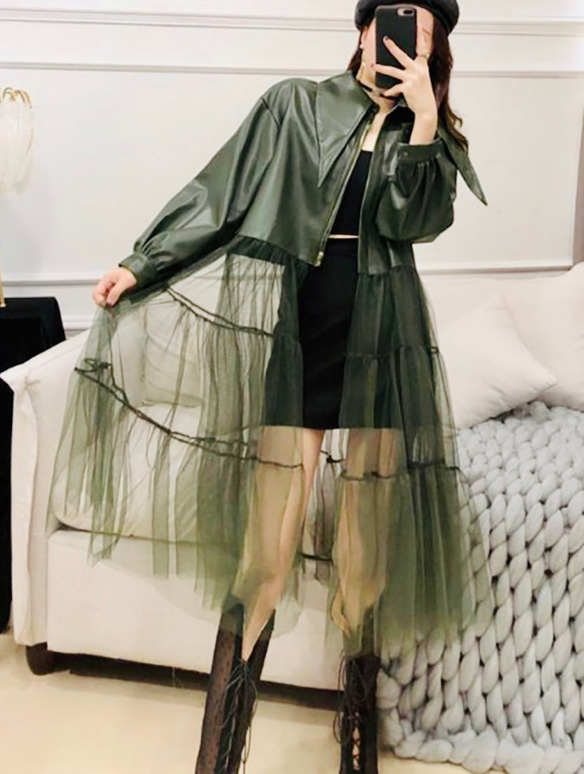 Faux leather jacket w/tulle