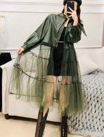 Load image into Gallery viewer, Faux leather jacket w/tulle