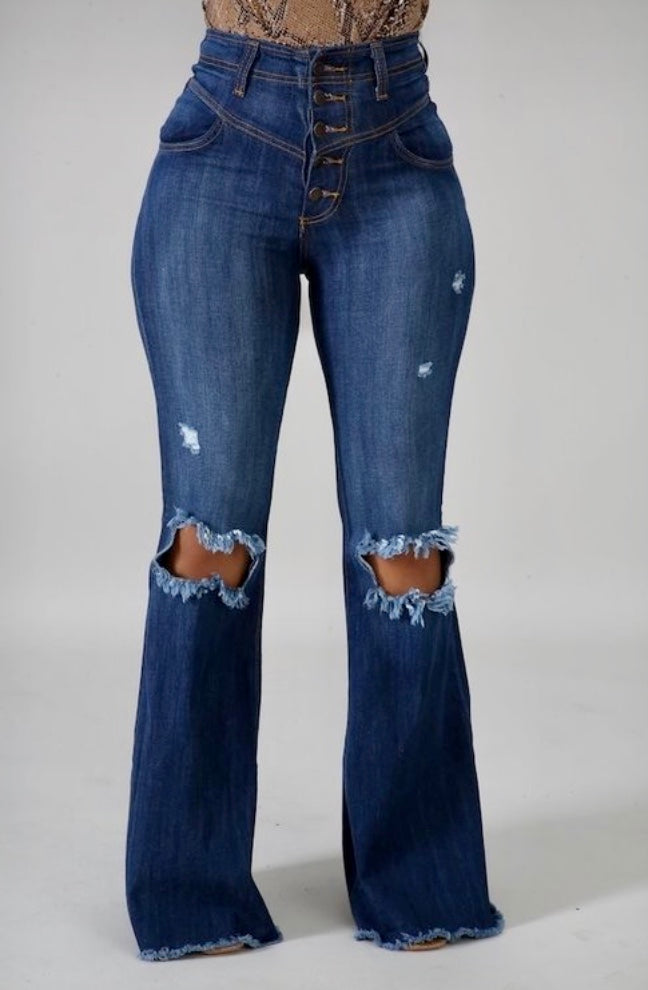 Button fly wide leg jeans