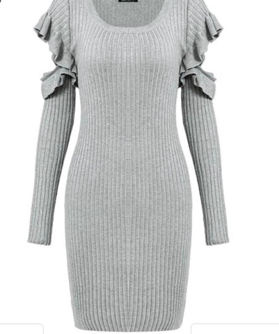 Ruffled sleeve bodycon dress