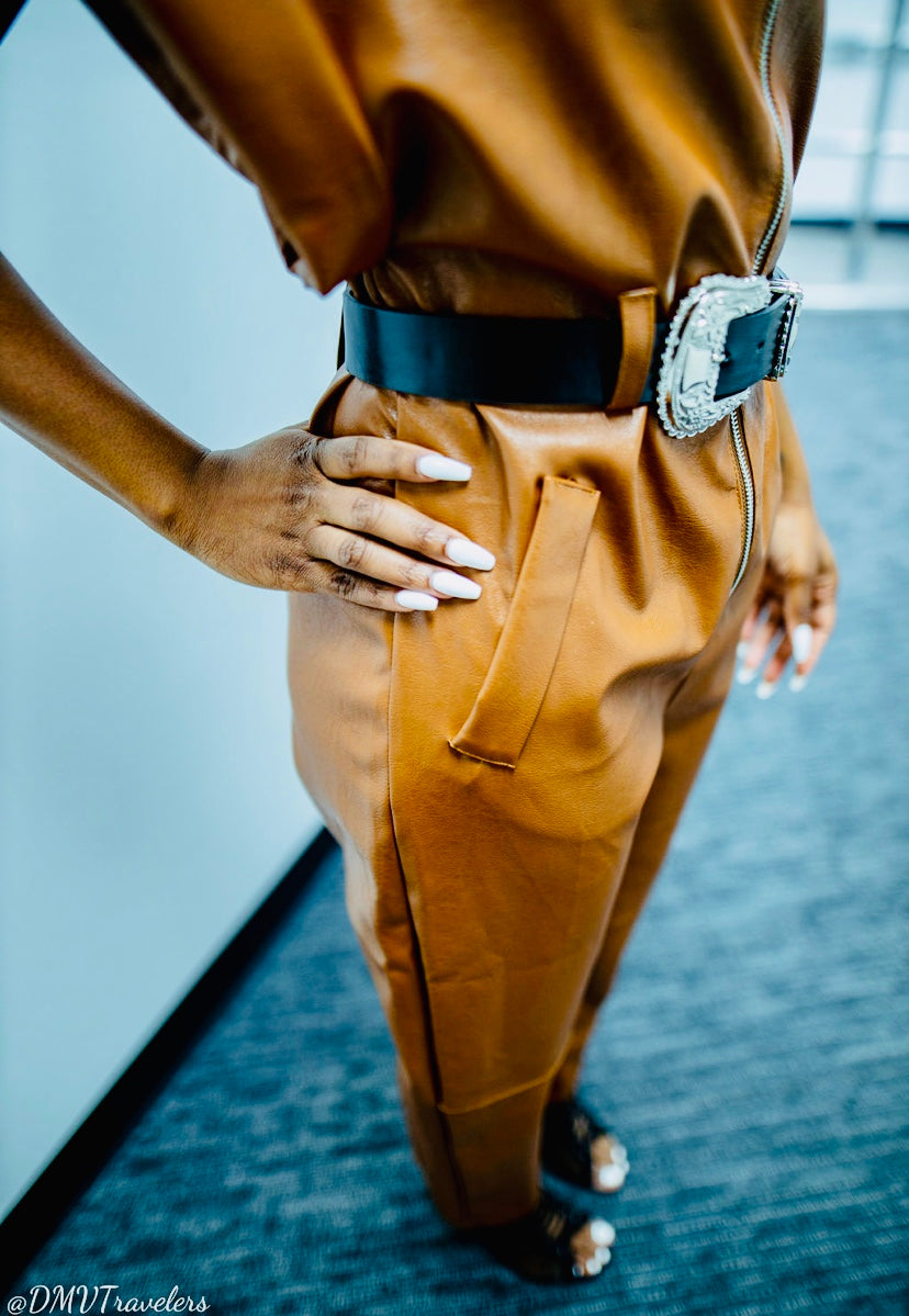 Faux leather belted jumpsuit