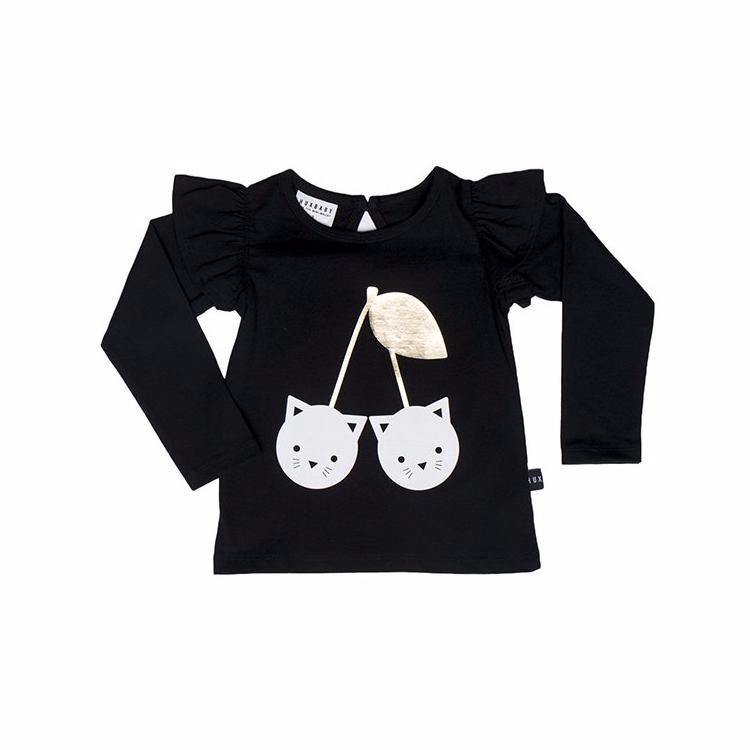 Huxbaby Black Frill L/S Top