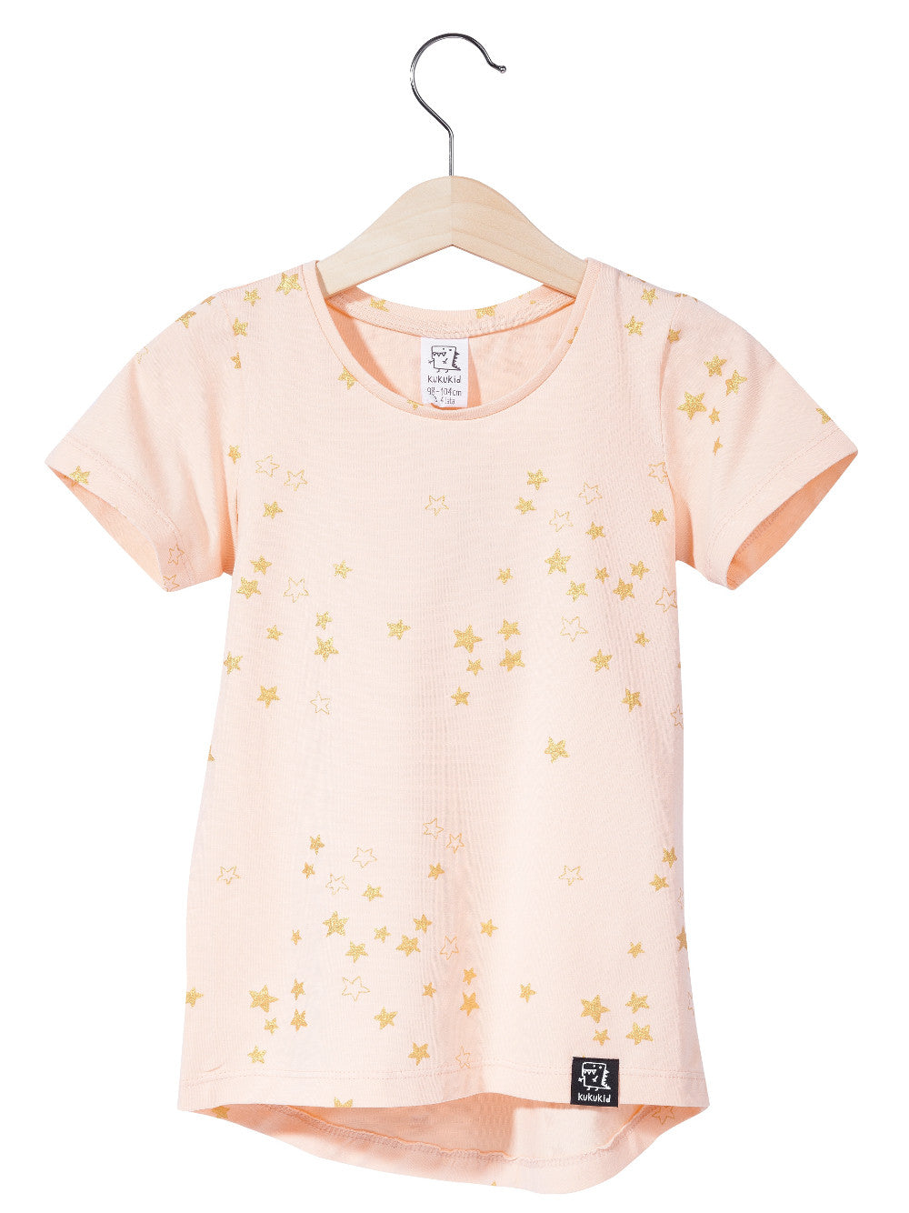 Kukukid Pink Tee with Golden Stars