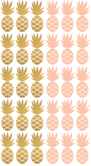 Pom Pink and Gold Pineapple Wall Decals