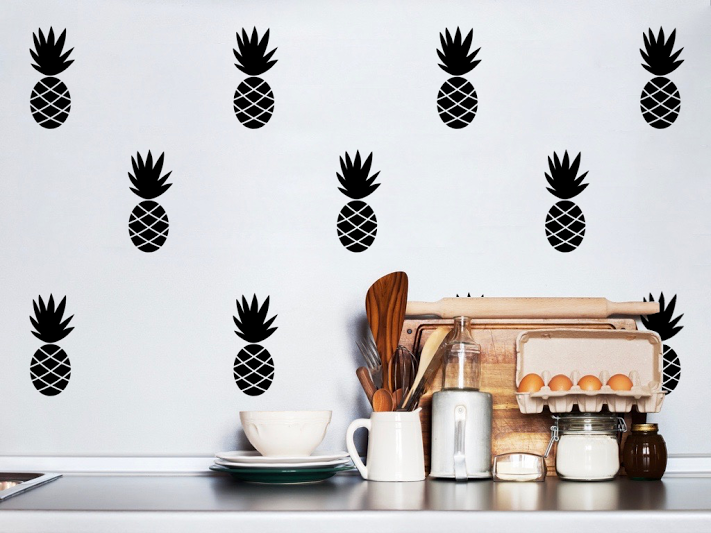 Pom Black Pineapple Wall Decals