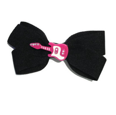 Oscar Blue Black Bow with Pink Guitar