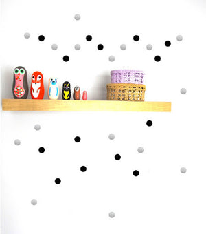 Pom Black and Silver Dot Wall Decals