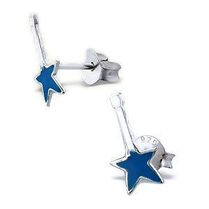 Sterling Silver Blue Rock Guitar Earrings
