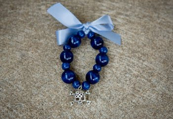 Oscar Blue Satin Bead Bracelet with Skull Charm