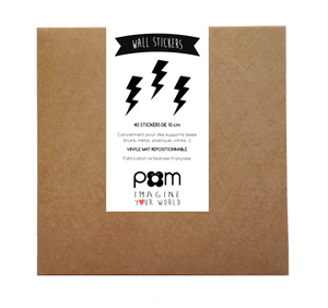 Pom Black Lightning Bolt Wall Decals