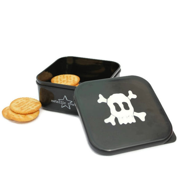 Metallic Cowboy Square Skull Snack Container