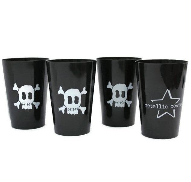 Metallic Cowboy Set of 4 Skull Cups