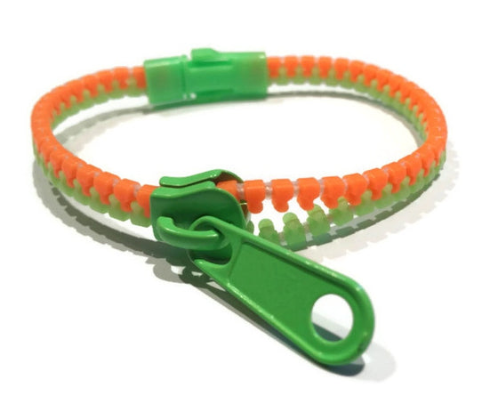 Neon Orange & Green Zipper Bracelet