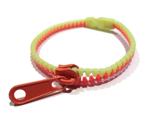 Neon Yellow and Orange Zipper Bracelet