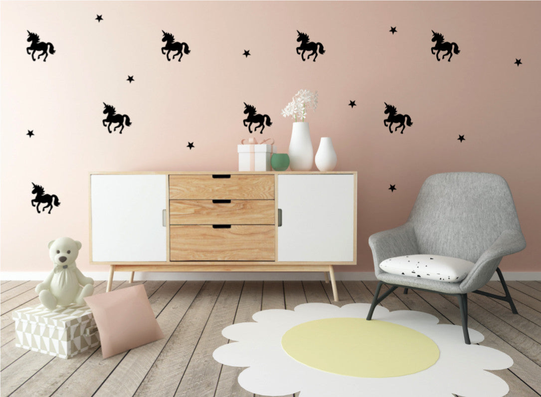Pom Black Unicorn Wall Decals