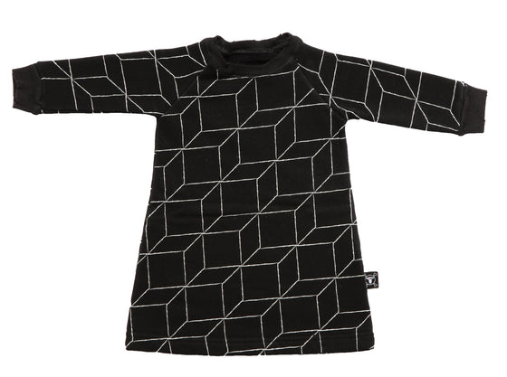 Nununu Long Sleeved Black Grid Dress