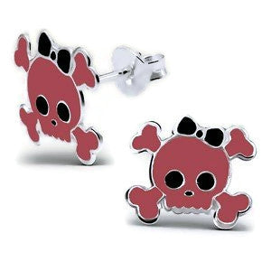 Sterling Silver Pink Skull with Black Bow Earrings