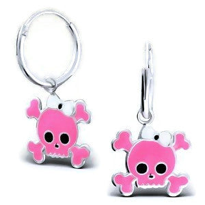 Sterling Silver Pink Skull with White Bow Hoop Earrings