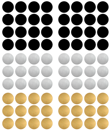 Pom Black, Gold and Silver Dot Wall Decals