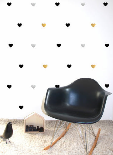 Pom Black, Silver and Gold Heart Wall Decals