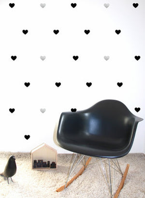 Pom Black and Silver Heart Wall Decals