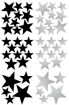 Pom Black and Silver Star Wall Decals