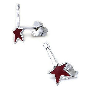 Sterling Silver Red Guitar Earrings