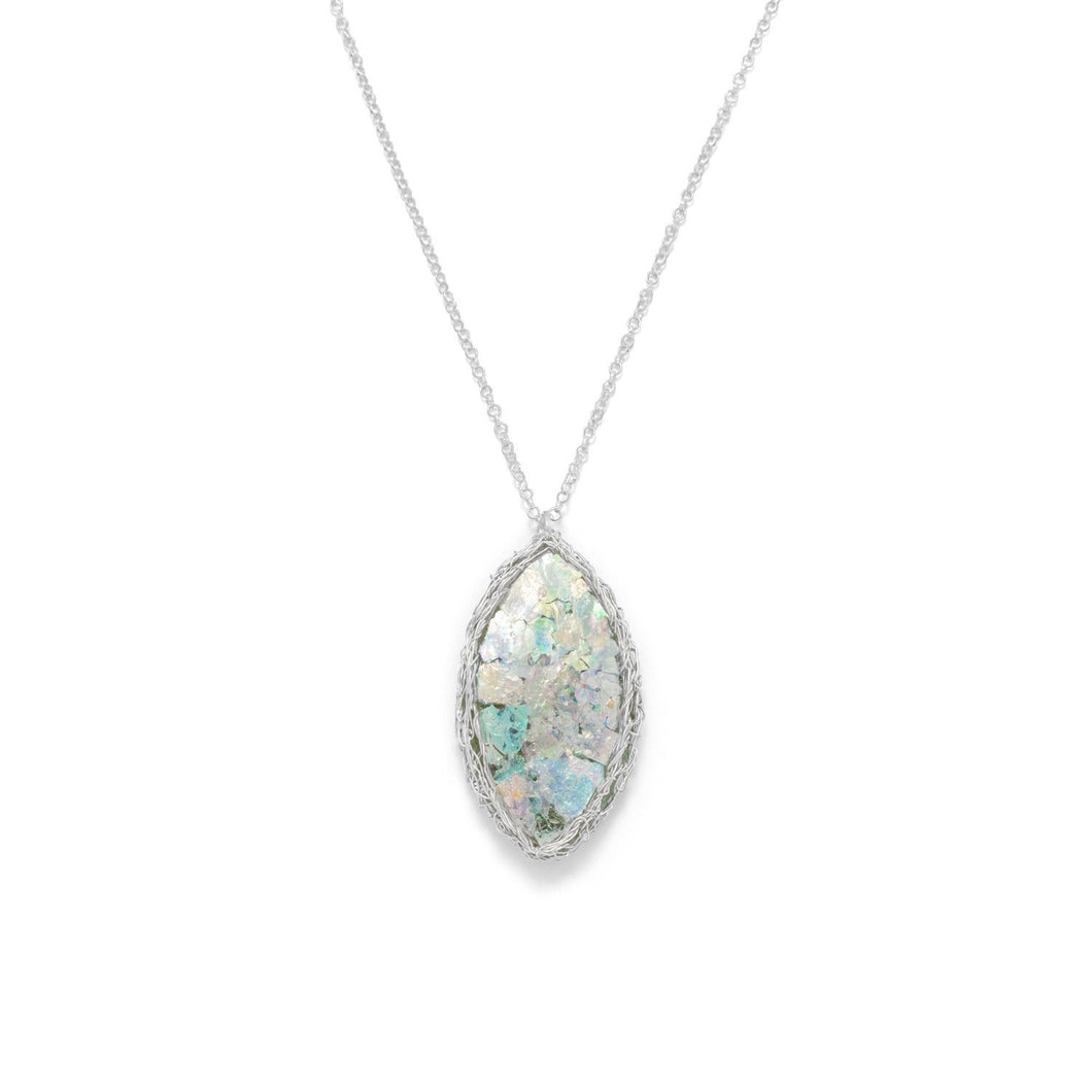 Ancient Roman Glass Marquise Necklace with Woven Wire Mesh – Bella ...